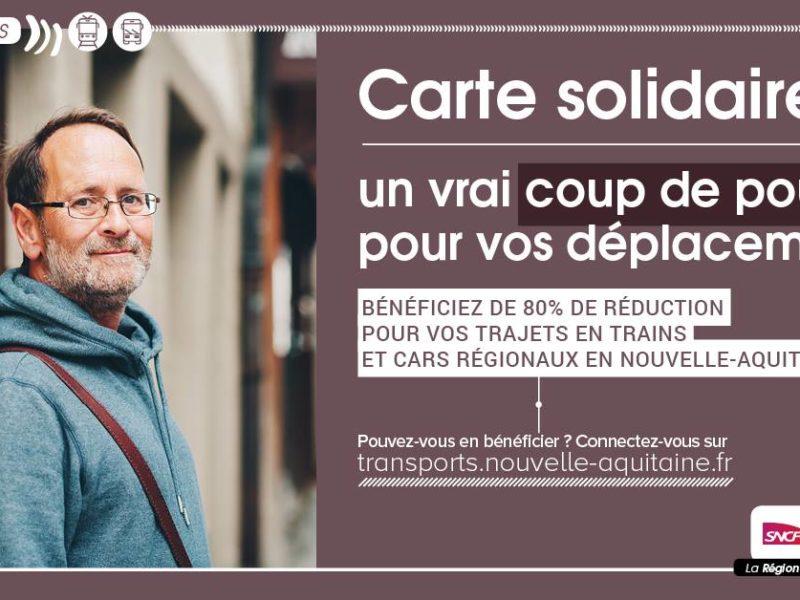Se déplacer en TER à -80% : Carte solidaire Région Nouvelle-Aquitaine